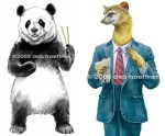Animal character art. Happy Panda pencil drawing enhanced digitally used for POP in liquor store and on wine label.  Weasel Accountant used for Workers Injury Law & Advocacy Group Campaign.