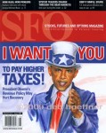 Cover of SF&O Magazine featuring Uncle Sam Obama illustration. Also featured on inside page full page.