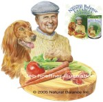 One of six product packaging illustrations for Natural Balance Dog Food. Illustrations painted with watercolor and pastel as separate sections delivered as digital layered files. Dick Van Patten portrait created and costumed for different nationalities with appropriate dog and ingredients in separate layers.