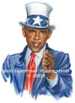 Uncle Sam Obama illustration for cover of SF&O magazine. Image recently sold as stock for use on t-shirts in Shanghai China to promote good international relations.