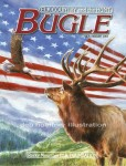 Cover illustration for Bugle Magazine, special issue for the troops. Publication of the Rocky Mountain Elk Foundation.