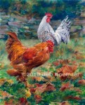 """Cuttalossa Roosters"" award-winning watercolor and pastel"